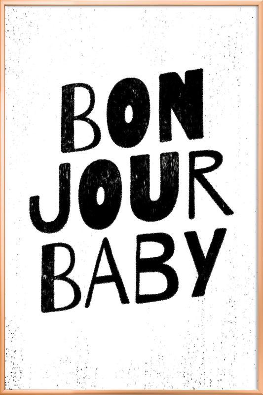 Bonjour Baby affiche sous cadre en aluminium