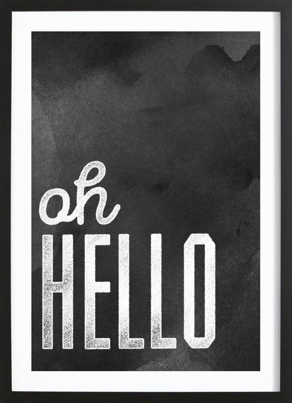 Oh Hello affiche sous cadre en bois