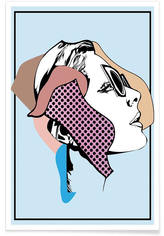 Mode-illustratie, Retro, Collaging 1 poster