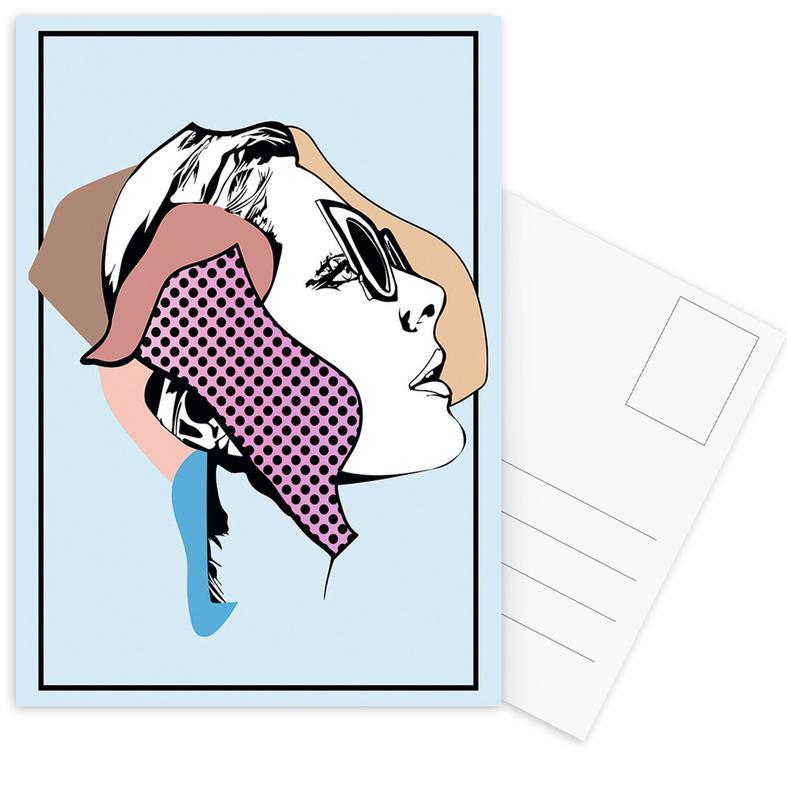 Mode-illustratie, Retro, Collaging 1 ansichtkaartenset
