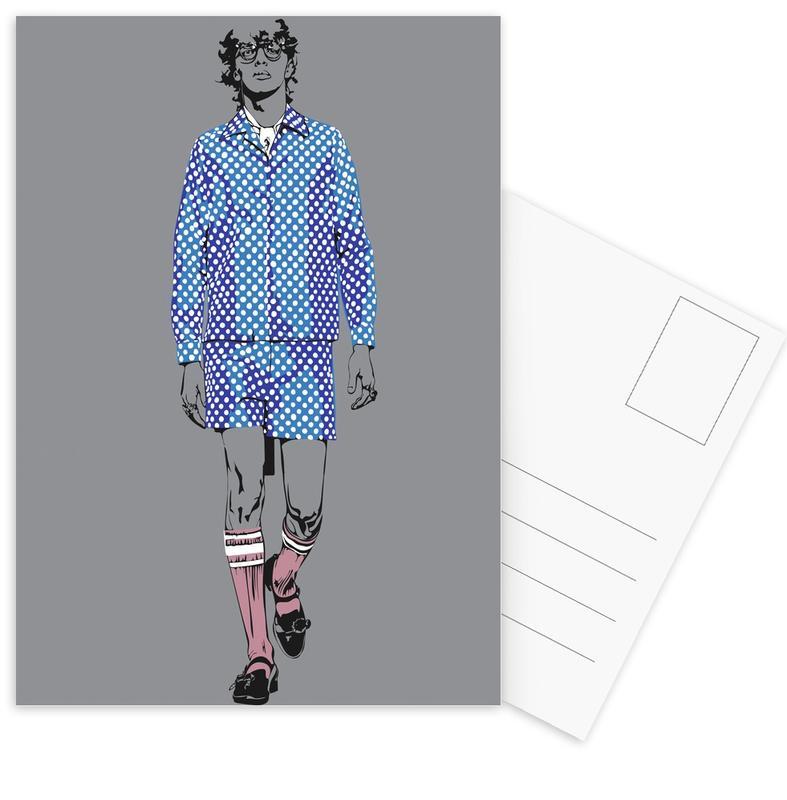 Mode-illustratie, Man 2 ansichtkaartenset