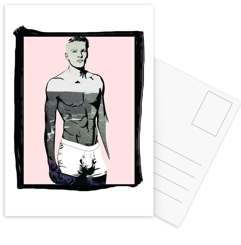Mode-illustratie, Boys Will Be Boys 1 ansichtkaartenset