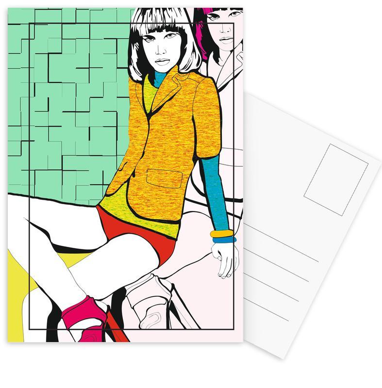 Modeillustration, Pop Art, Pop 4 -Postkartenset