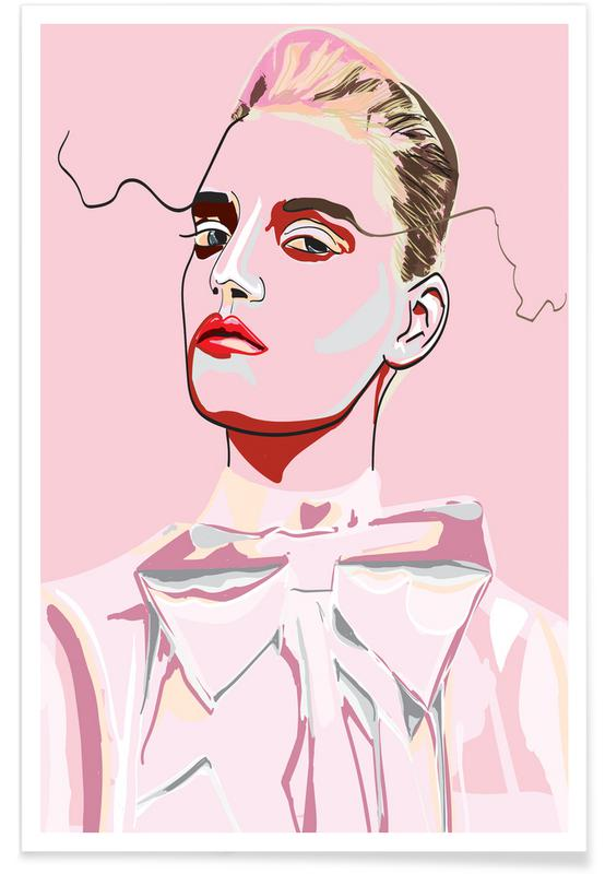 Modeillustration, Porträts, Pretty in Pink 1 -Poster