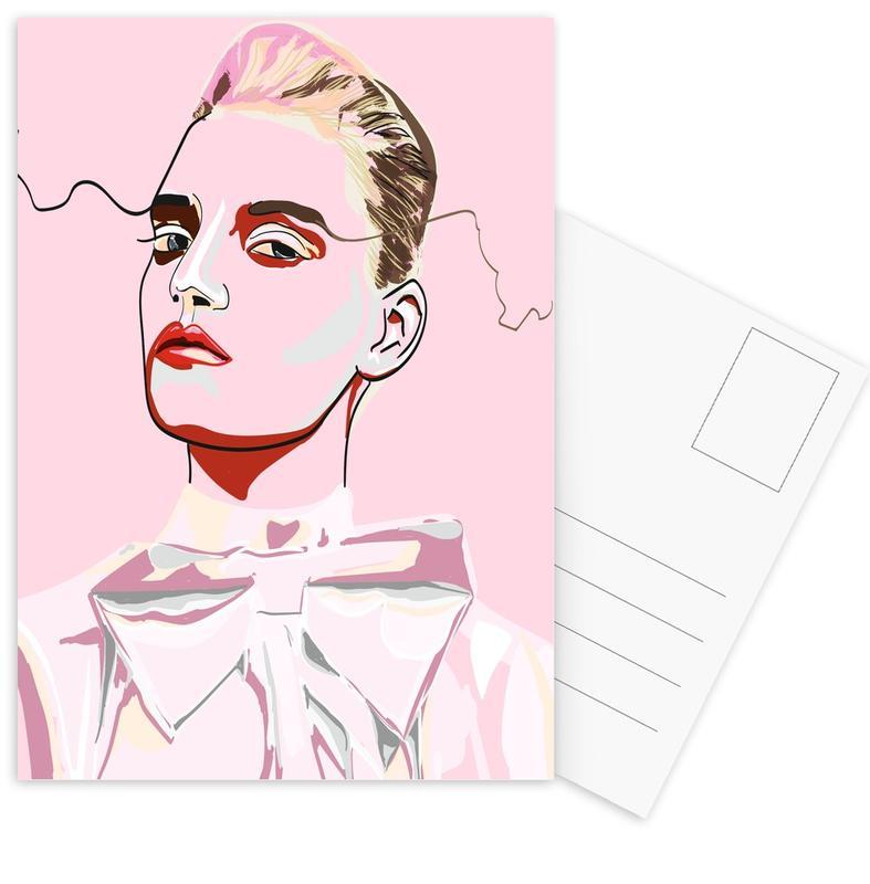 Modeillustration, Porträts, Pretty in Pink 1 -Postkartenset