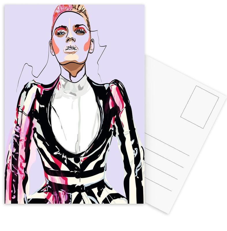Modeillustration, Pretty in Pink 3 -Postkartenset