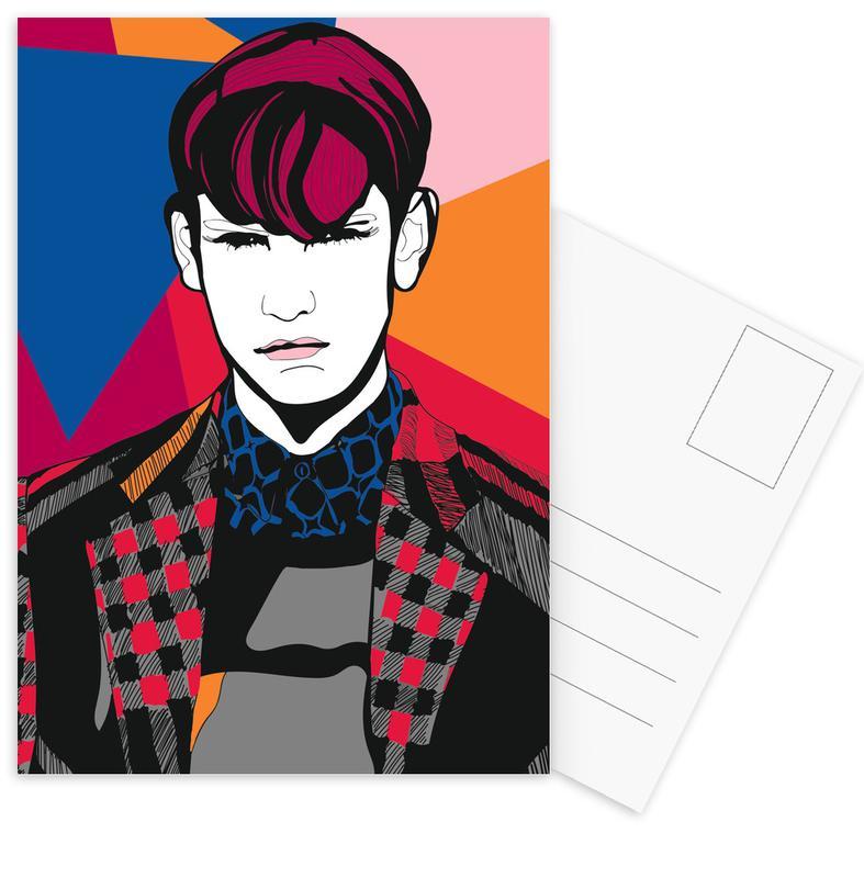 Modeillustration, The Boy -Postkartenset
