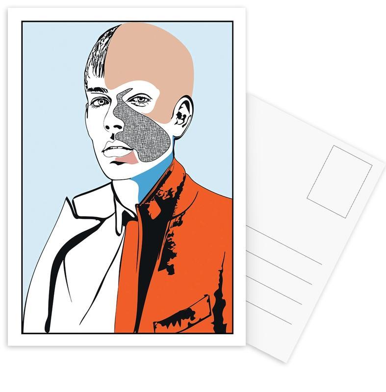 Mode-illustratie, Collaging 2 ansichtkaartenset