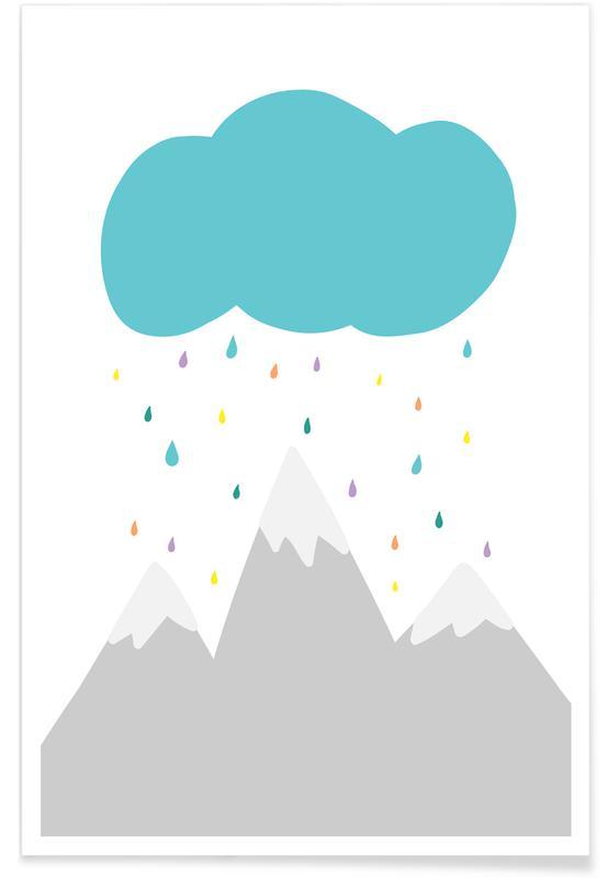 Montagnes, Art pour enfants, Wolke affiche