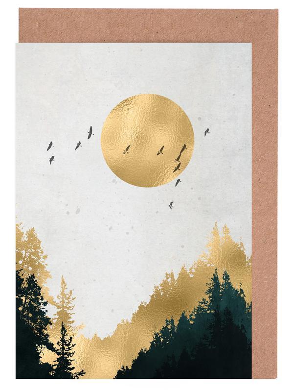 Berge, Abstrakte Landschaften, Wälder, Goldmond -Grußkarten-Set