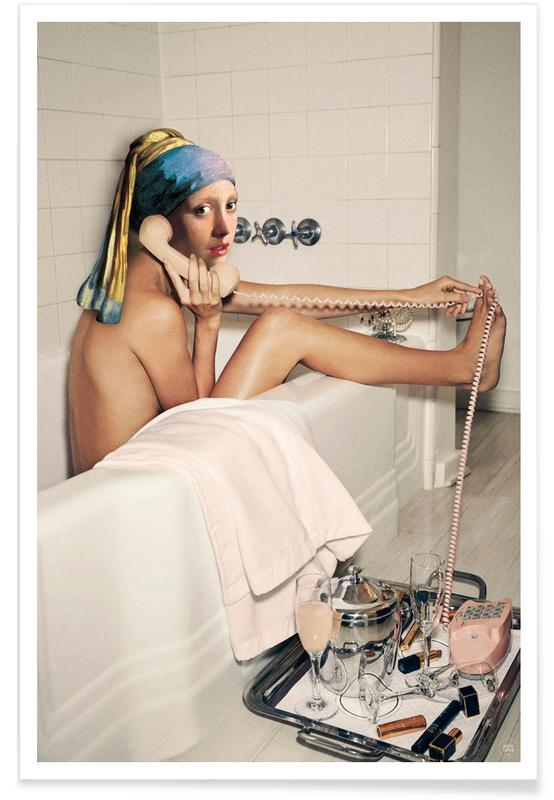 Humor, Girl with Pearl Earring Bath time Plakat