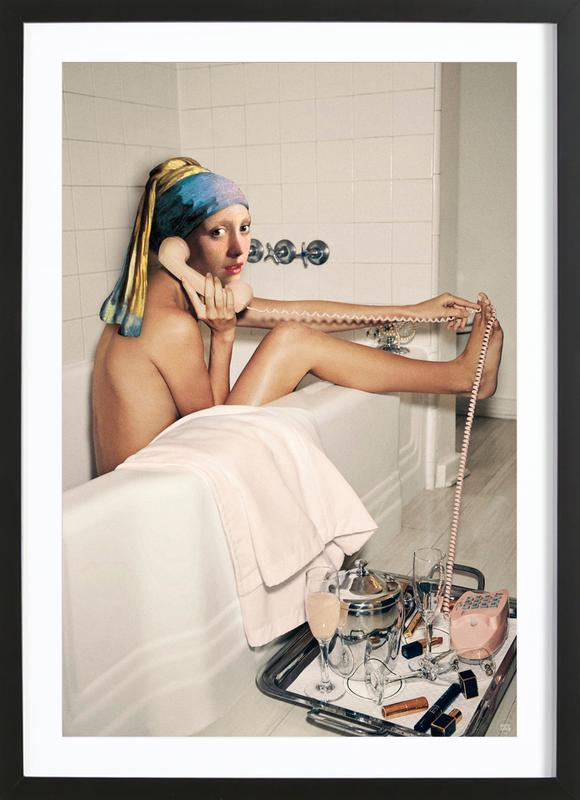 Girl with Pearl Earring Bath time Framed Print