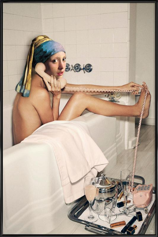 Girl with Pearl Earring Bath time Framed Poster