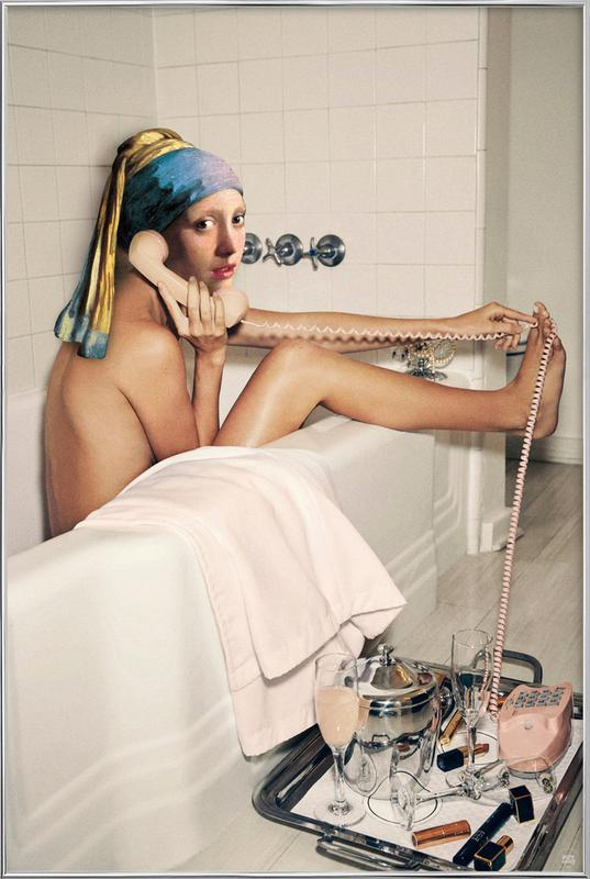 Girl with Pearl Earring Bath time Poster in Aluminium Frame