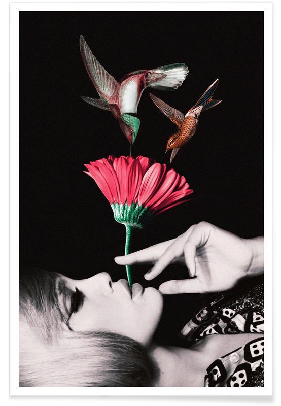 Retro, Hummingbirds, Ladies & Cigarrettes Poster
