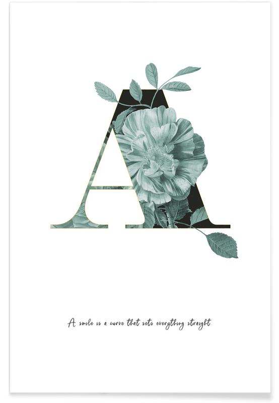 Alphabet & Buchstaben, Zitate & Slogans, Flower Alphabet - A -Poster