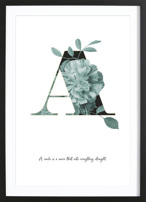 Flower Alphabet - A affiche sous cadre en bois