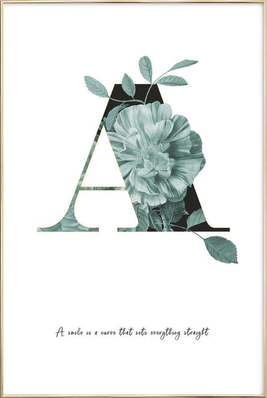 Flower Alphabet - A affiche sous cadre en aluminium