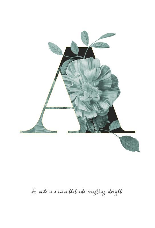 Flower Alphabet - A Aluminium Print