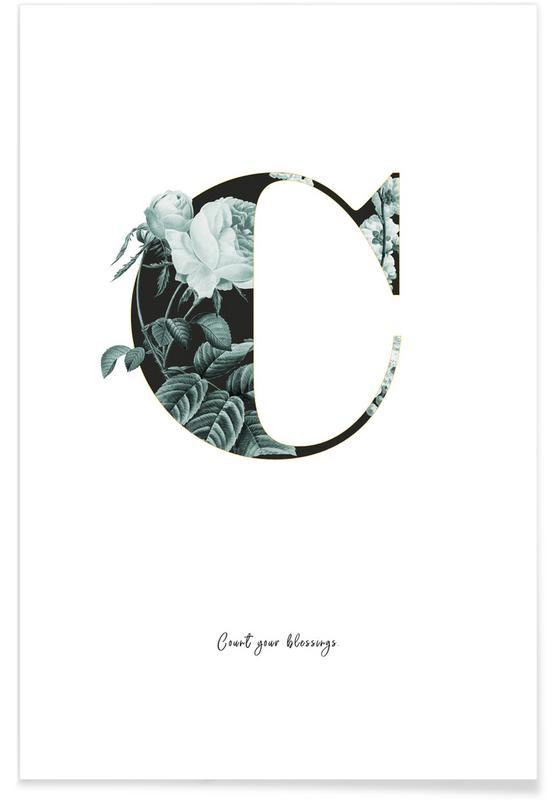 Alphabet & Buchstaben, Zitate & Slogans, Flower Alphabet - C -Poster
