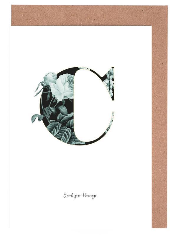 Flower Alphabet - C -Grußkarten-Set