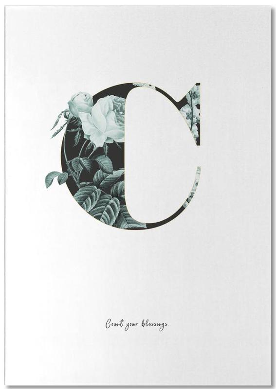 Flower Alphabet - C -Notizblock