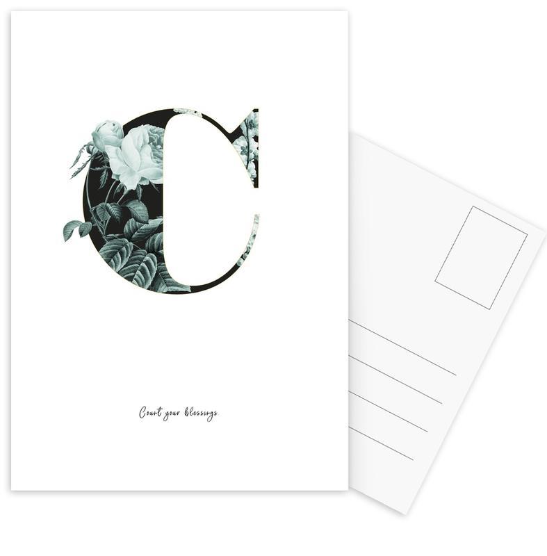 Flower Alphabet - C -Postkartenset
