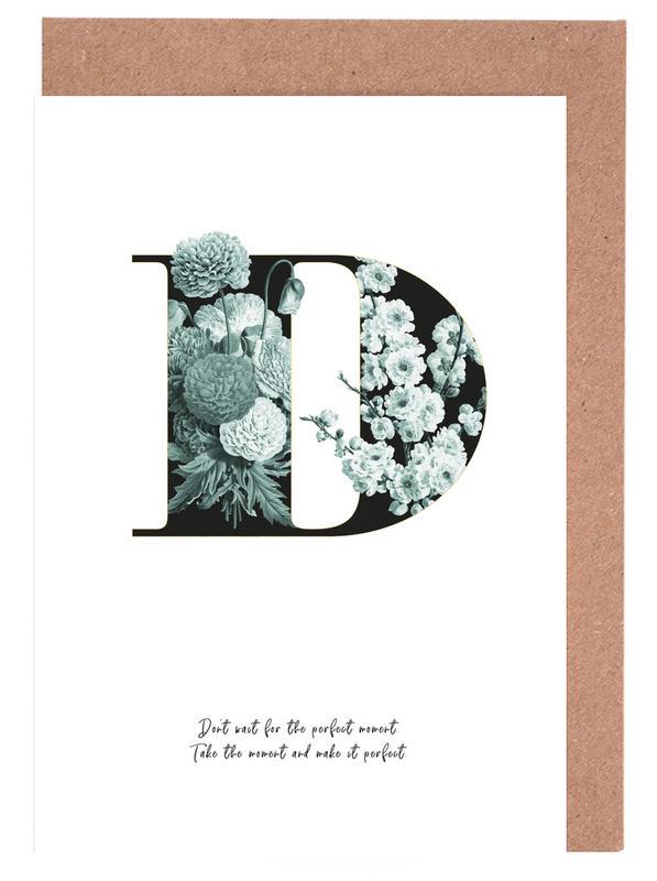 Flower Alphabet - D -Grußkarten-Set