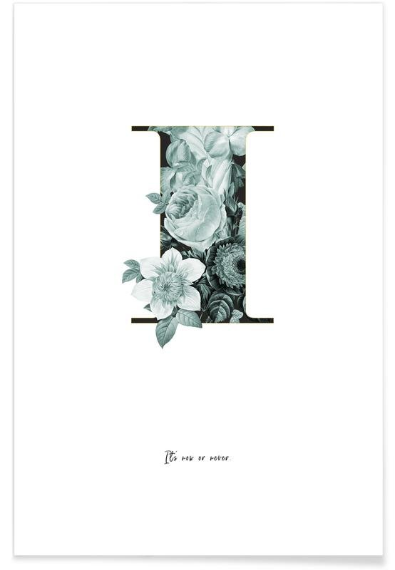 Alphabet & Buchstaben, Zitate & Slogans, Flower Alphabet - I -Poster