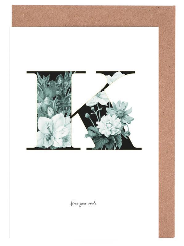 Flower Alphabet - K -Grußkarten-Set
