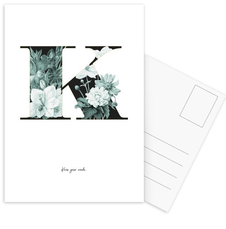 Flower Alphabet - K Postcard Set