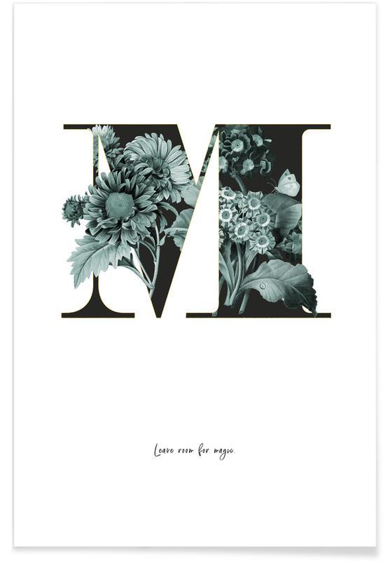 Alphabet & Buchstaben, Zitate & Slogans, Flower Alphabet - M -Poster