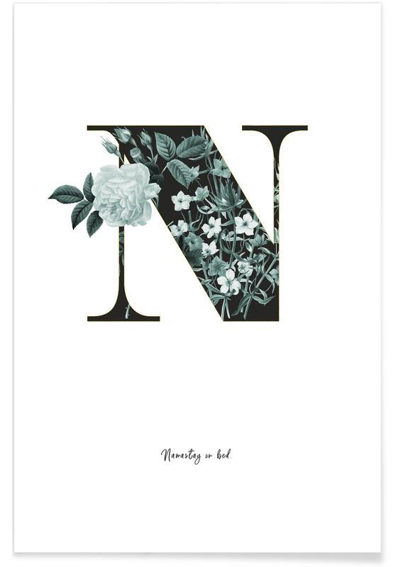 Alphabet & Buchstaben, Zitate & Slogans, Flower Alphabet - N -Poster