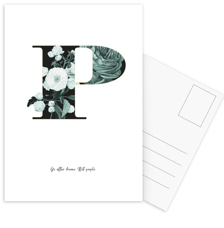 Flower Alphabet - P Postcard Set