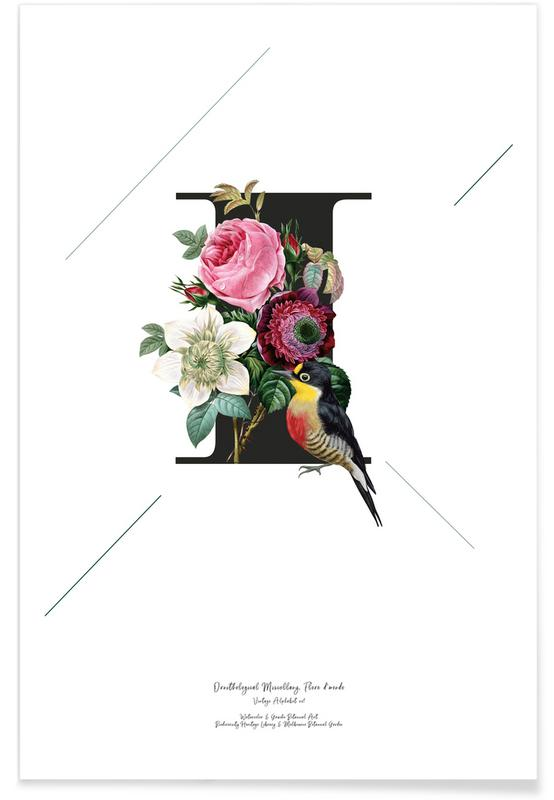 Alphabet et lettres, Botanical Alphabet - I affiche