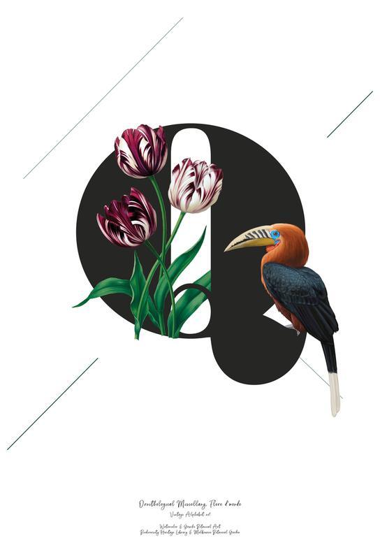 Botanical Alphabet - Q tableau en verre