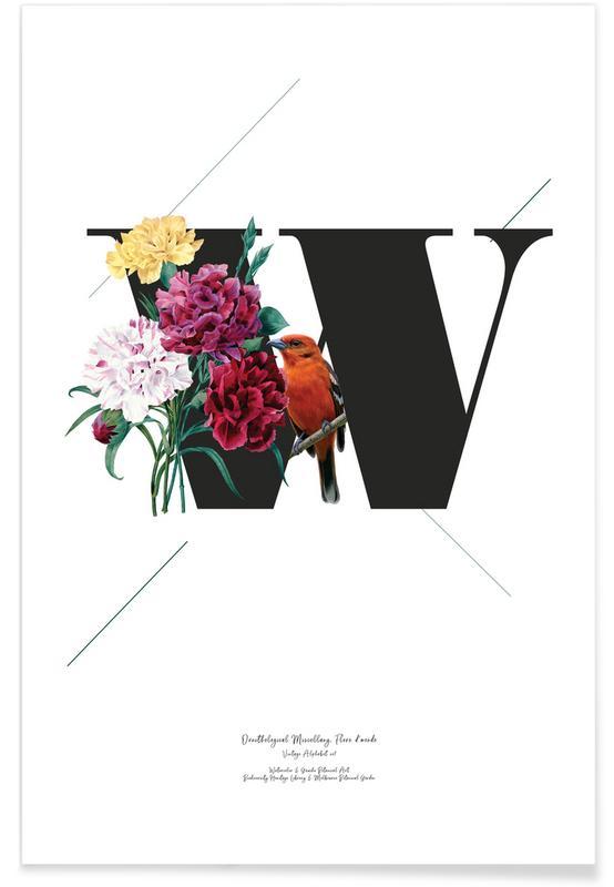 Alphabet & Buchstaben, Botanical Alphabet - W -Poster