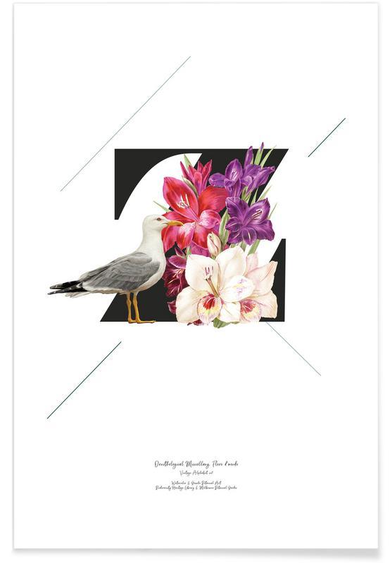 Alfabet en letters, Botanical Alphabet - Z poster