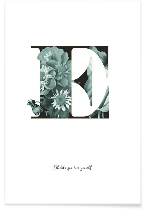 Alphabet & Buchstaben, Flower Alphabet - E -Poster