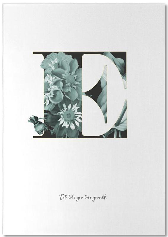 Flower Alphabet - E -Notizblock