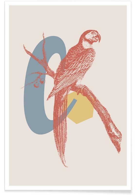 Rétro, Alphabet et lettres, Perroquets, C affiche