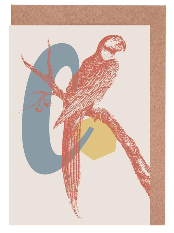 Alphabet & Letters, Retro, Parrots, C Greeting Card Set