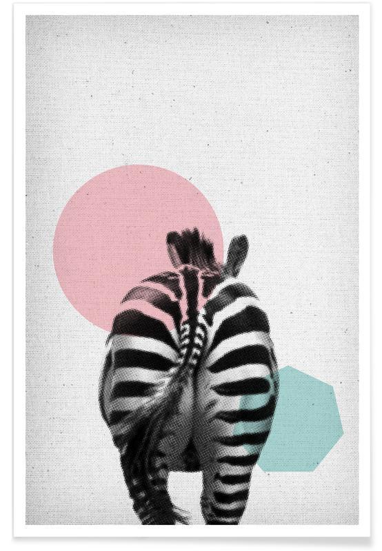Art pour enfants, Zèbres, Zebra affiche
