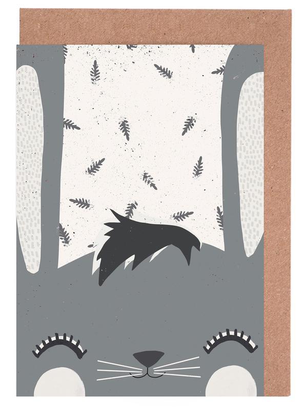 Art pour enfants, Pâques, Lapins, Frühlingshasi Grey cartes de vœux