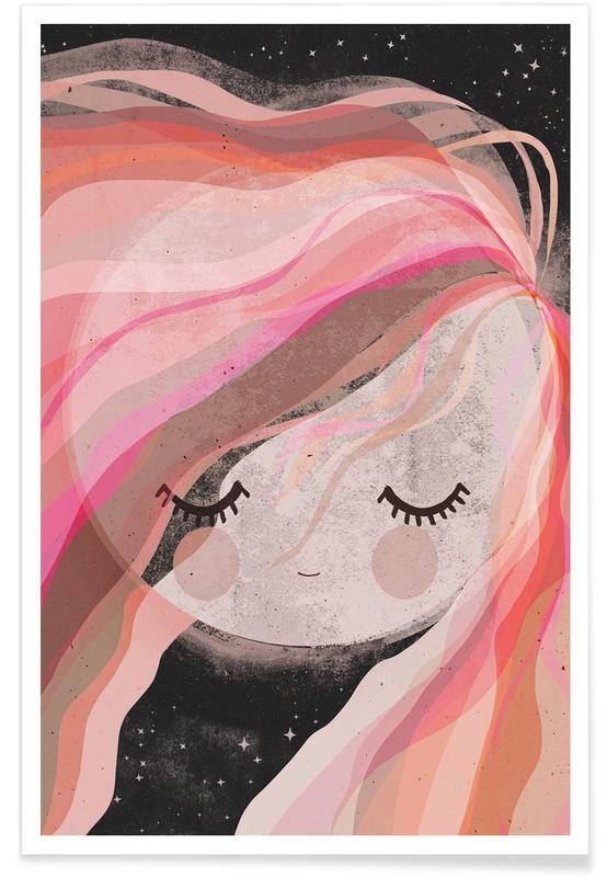 Traumwelt, Kinderzimmer & Kunst für Kinder, Mond, Moon Girl -Poster