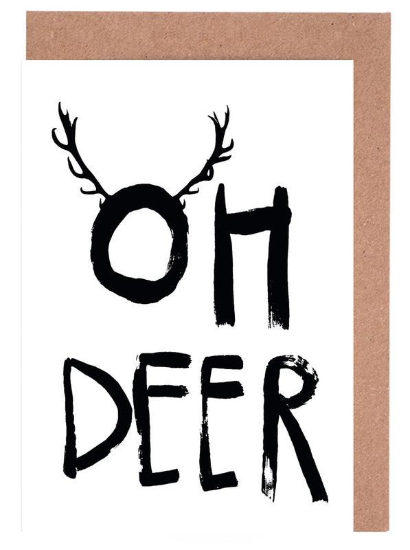 Schwarz & Weiß, Weihnachten, Oh Deer -Grußkarten-Set