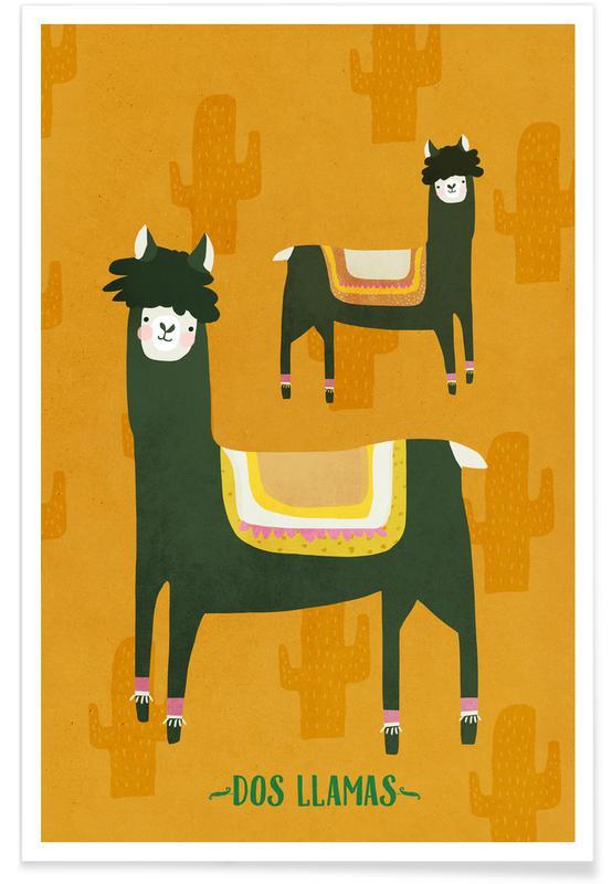 Børneværelse & kunst for børn, Lama, Dos Llamas Plakat