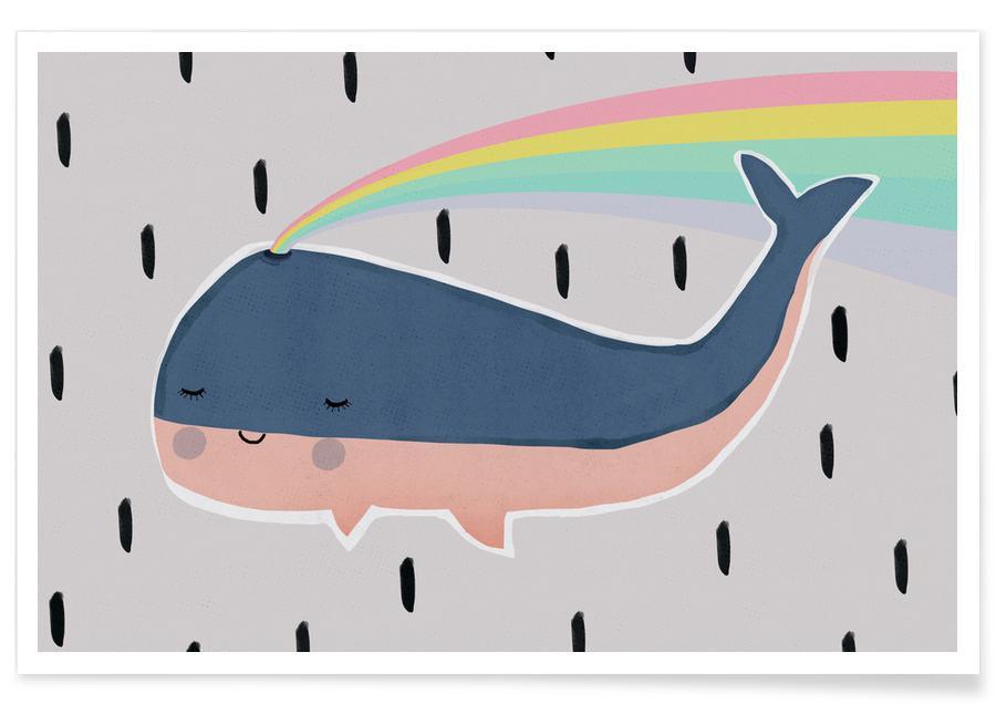 Art pour enfants, Baleines, Happy Whale affiche