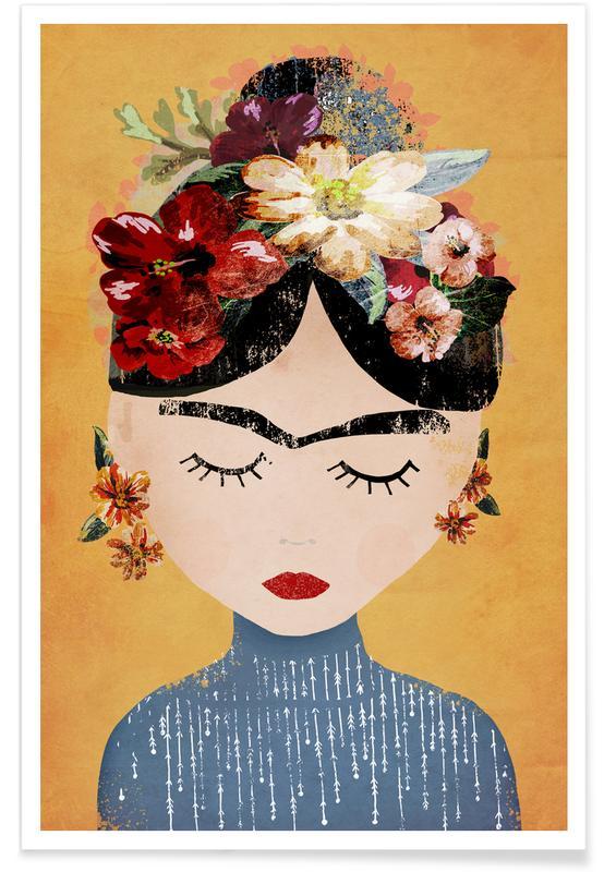 Børneværelse & kunst for børn, Frida Kahlo, Frida Kahlo Illustration Plakat