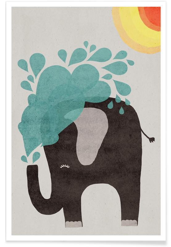 Éléphants, Art pour enfants, Funny Elephant 2 affiche